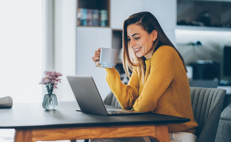Image of person woman working from home
